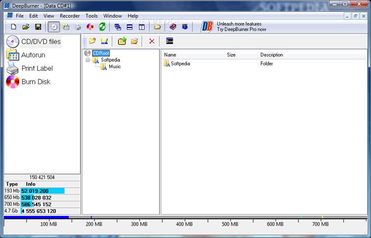 burn cd program with DeepBurner