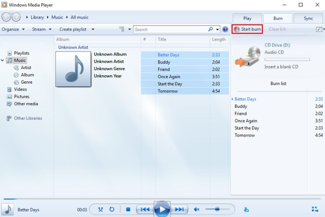 burn music to cd