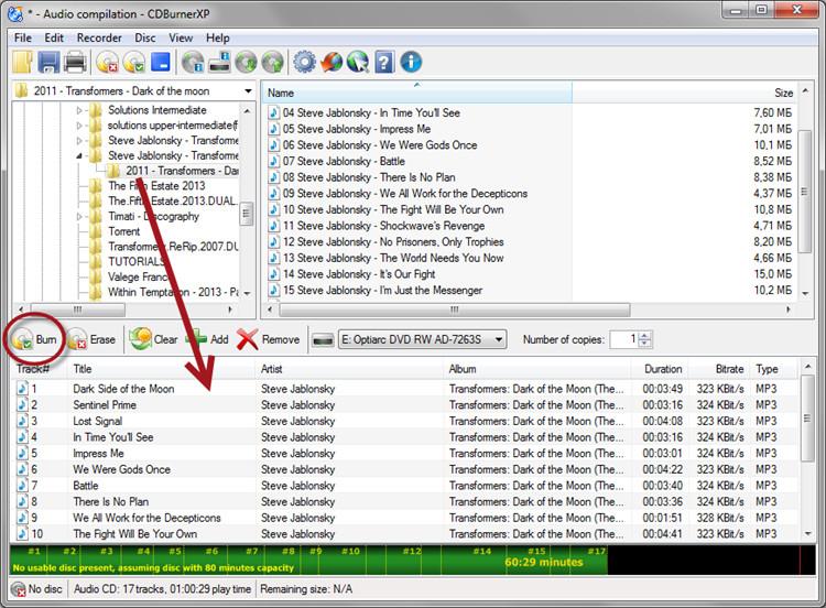 add files to free burner