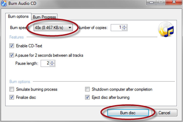 burn audio files to CD/DVD