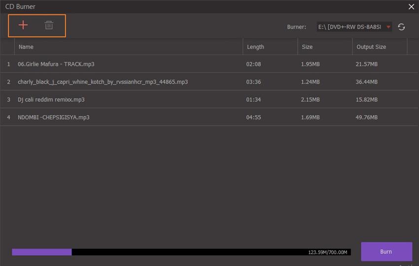 upload files to cd burner for music burning