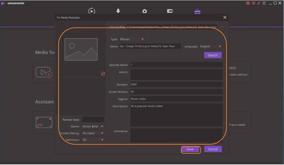 save file to song tag editor
