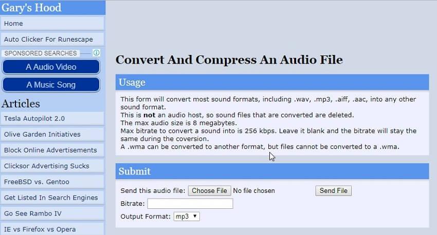 online audio compressor - Gary's Hood