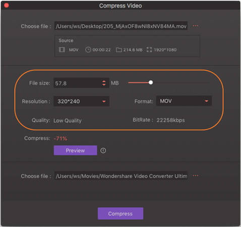 change compression settings for added video