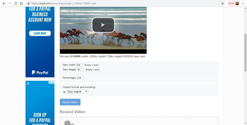 compress video online free - EZGIF