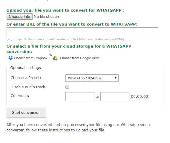 compress videos for WhatsApp free online - Online-Convert.com