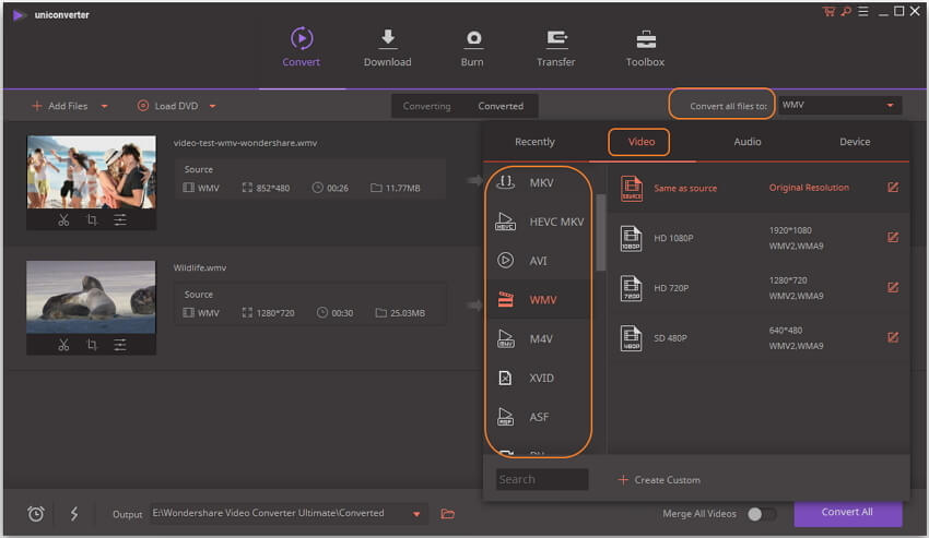 choose WMV output video format