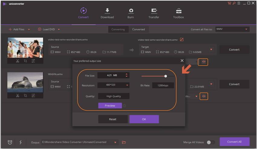 Customize video setting