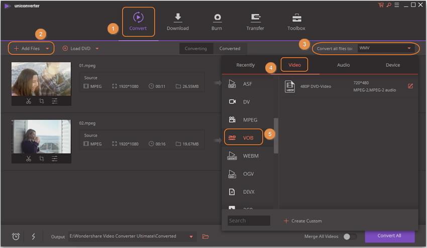 laad videos en kies het output format voor DVD compressie