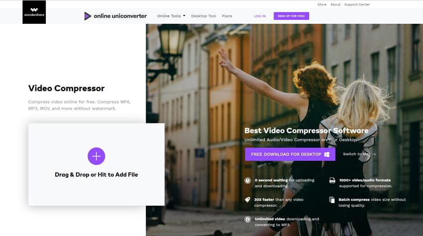 reduce video size online with Online UniConverter (originally Media.io)