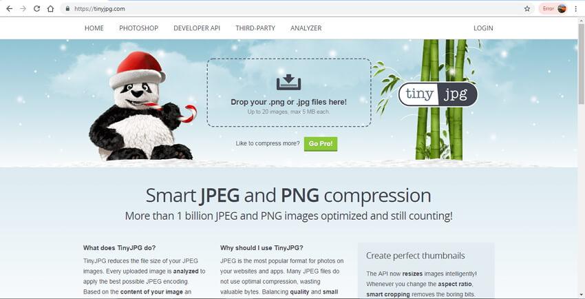Bilddateigröße verringern - TinyJPG