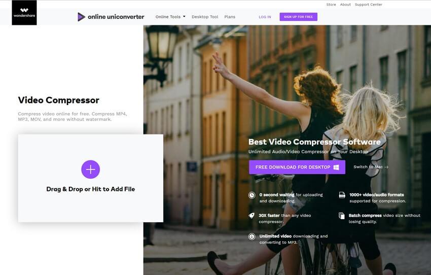 MP4 online comprimeren met Online UniConverter (originally Media.io)