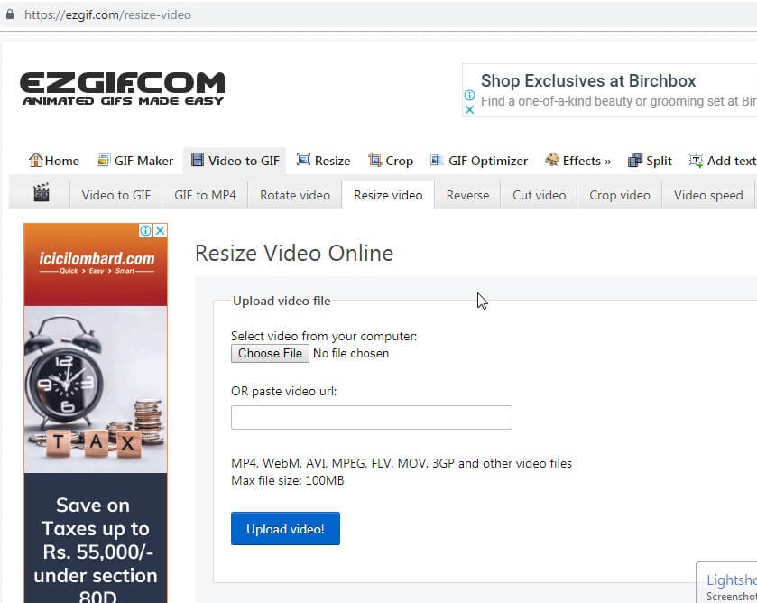online Videogröße-Konverter – ezgif
