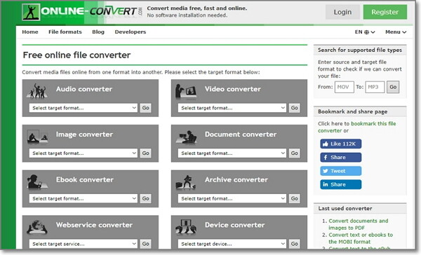 convert Audio File to WAV by Online-Convert