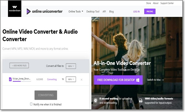 convert MP3 to WMV by Online UniConverter