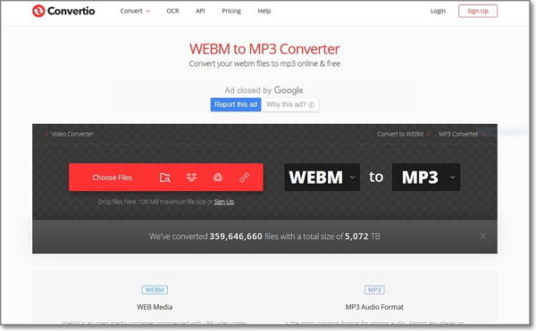 convert WebM to MP3 by Convertio
