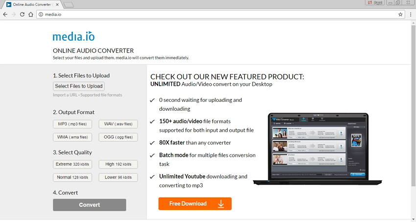 Online browser converter of any audio formats