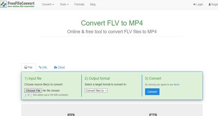 converter arquivo FLV online-FreeFileConvert