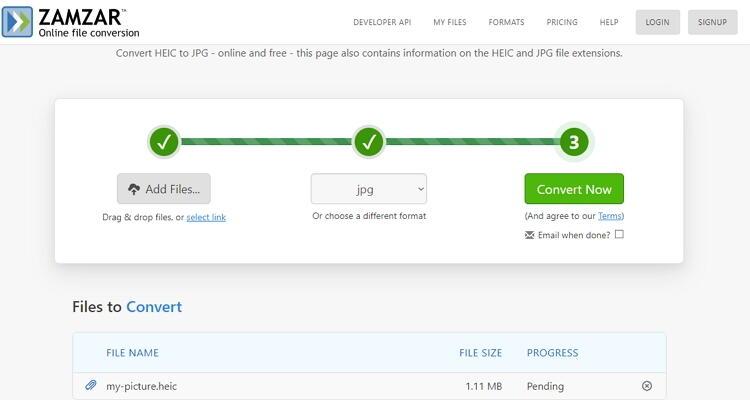 converter HEIC para JPEG online-Zamzar