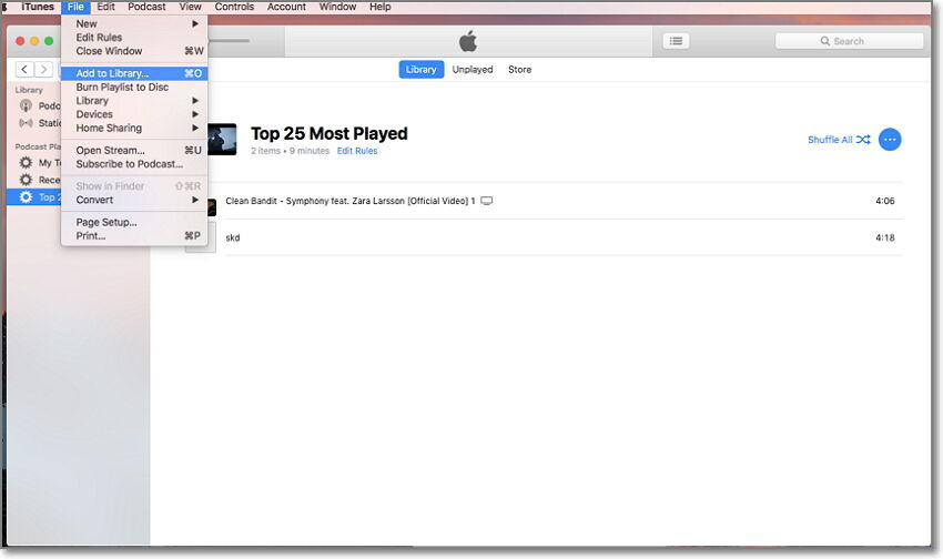 adicionar TS no iTunes