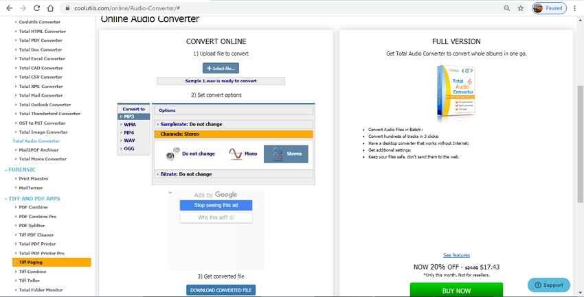 Kostenloser Online Mono zu Stereo Converter - CoolUtilis