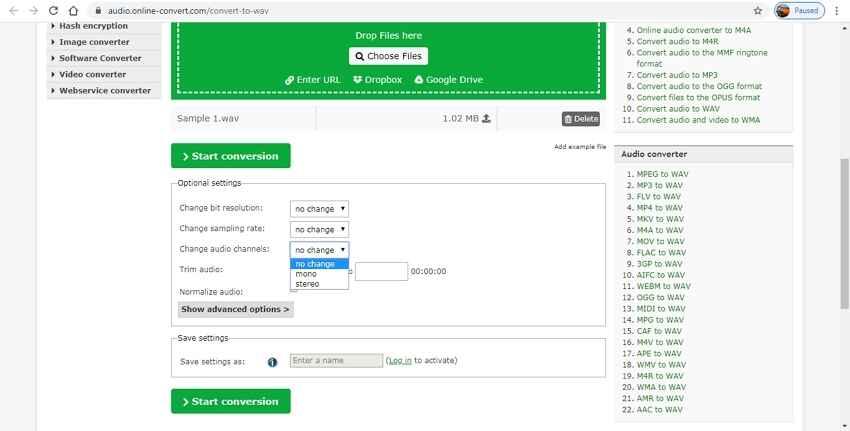 Kostenloser online Mono zu Stereo Converter - Online Convert