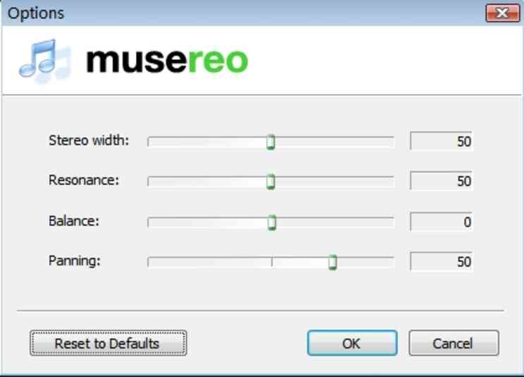 Wählen Sie den Optionen Button in Musereo