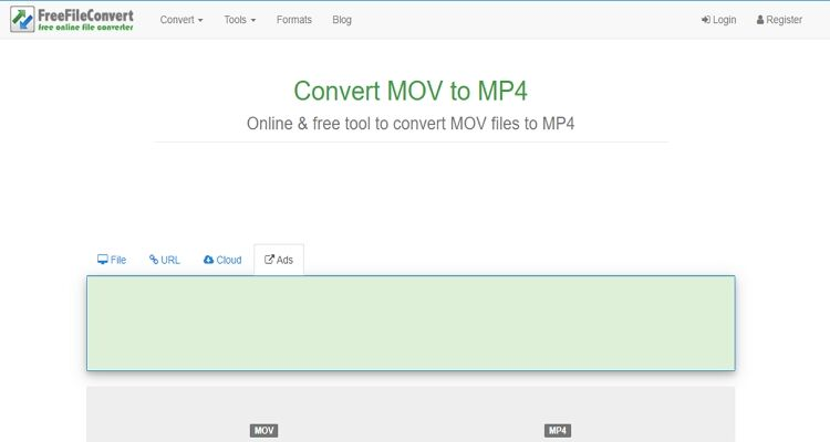 MOV Online Video Converter -FreeFileConvert