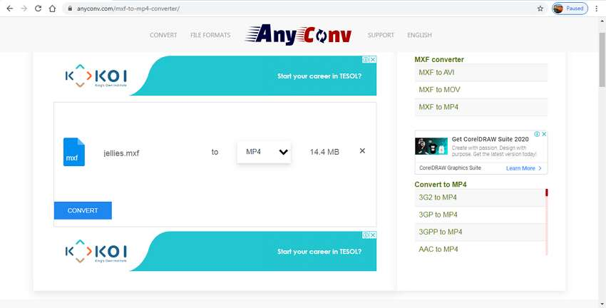 Online MXF Converters - Any Conv MXF to MP4 Converter