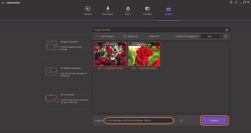 convert picture to high resolution in the wondershare uniconverter