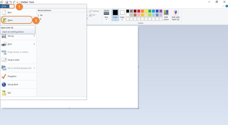click open button in Paint app