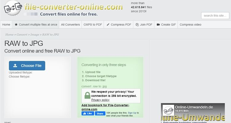 convert raw to jpeg free online
