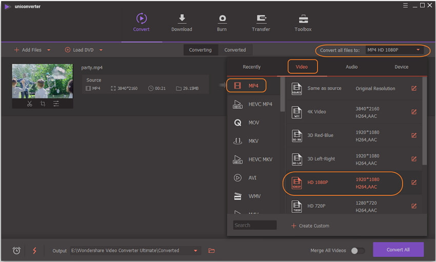 choose 1080p and output format