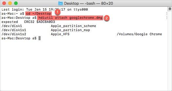 open dmg file on terminal