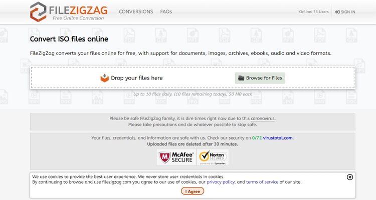 Extrator de arquivos ISO on-line - FileZigZag