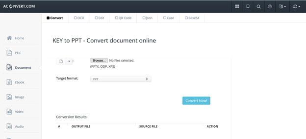 Conversor de chaves online popular -Aconvert