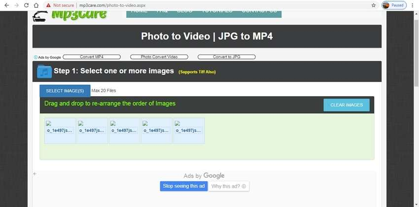 Top online photos to video converters-MP3Care Photo to Video