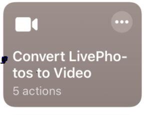 selecione o botão converter fotos ao vivo para vídeo