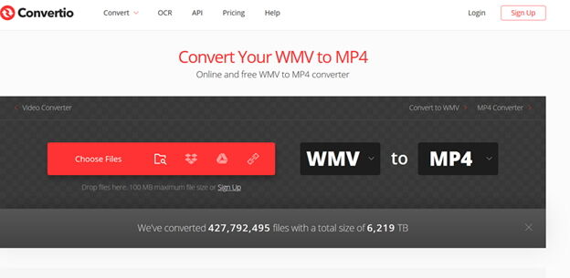 Converta Windows Media Video Online Grátis -Convertio