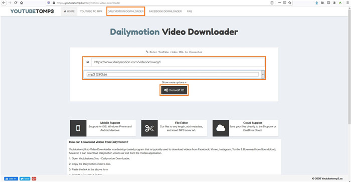 convertidor de youtube a mp3 dailymotion
