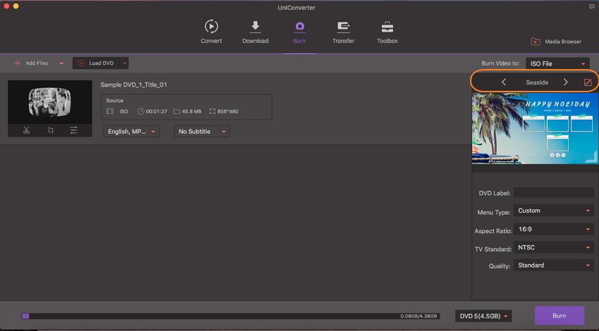 Scegli i modelli di DVD prima di masterizzare ISO su DVD