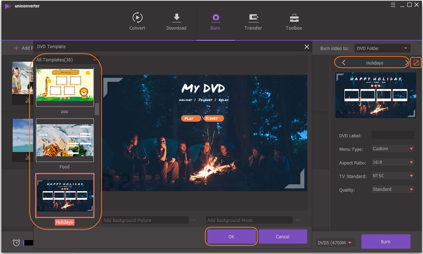 Select DVD template for iTunes videos