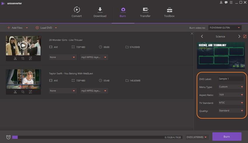 make DVD settings