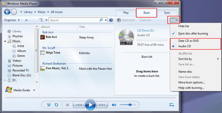 use Windows Media Player to burn a DVD