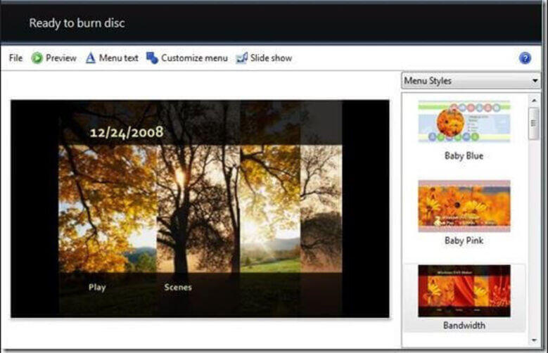 Make a DVD Slideshow on Windows 7 - Select Template for Your CD