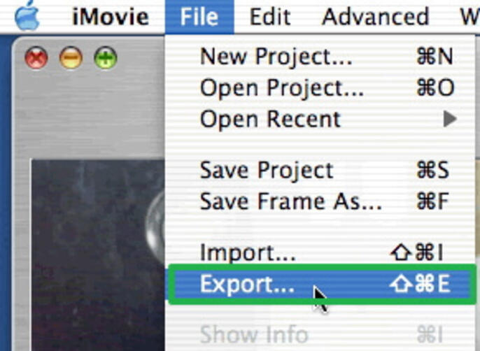 select the movie you want to export in iMovie
