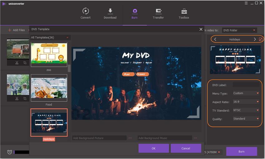 change DVD burning settings in WinX DVD alternative