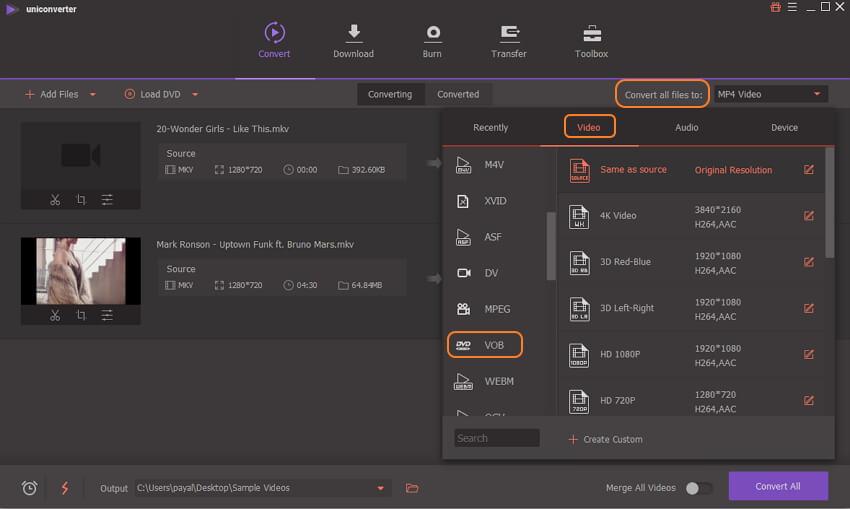 choose VOB for MKV output format