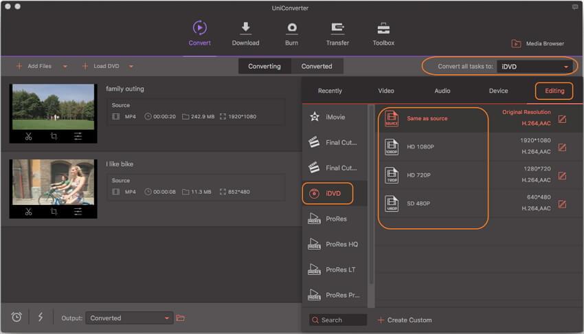 MP4 converteren naar iDVD - kies voor idvd formaat