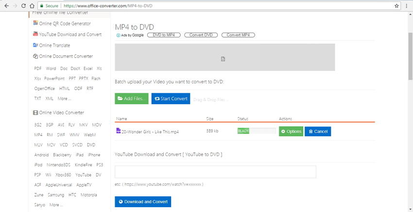 mp4 vers dvd convertisseur en ligne Office Converter